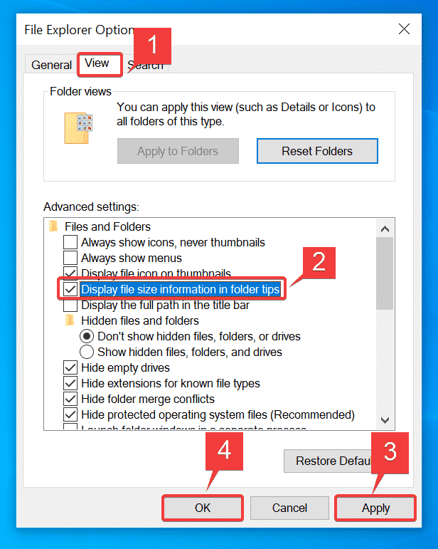 Mostrar información sobre el tamaño del archivo en las sugerencias de carpeta