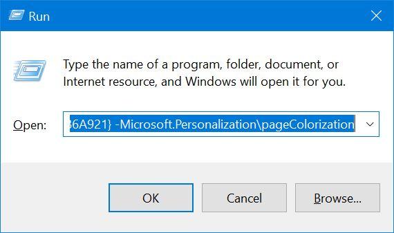 color abierto y apariencia en Windows 10