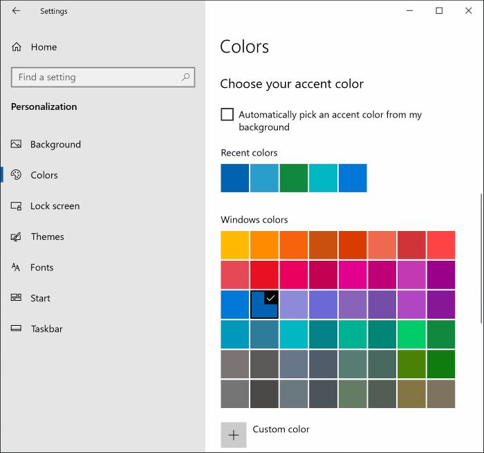 cambiar el color del menú de inicio en Windows 10 pic4