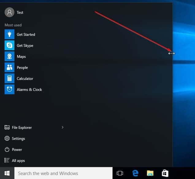 Cambiar el tamaño de la imagen del menú Inicio de Windows 10