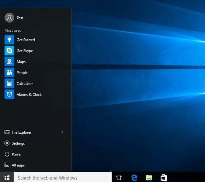 hacer que el menú de inicio de Windows 10 sea más pequeño o más grande