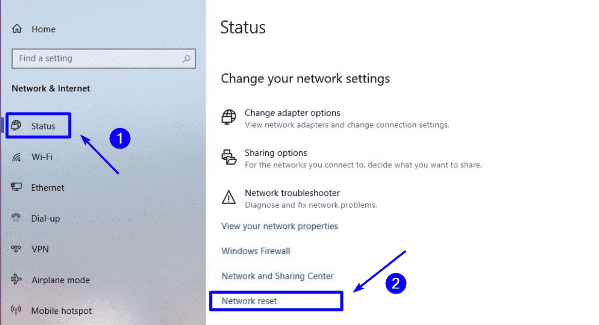 Restablecimiento de la red