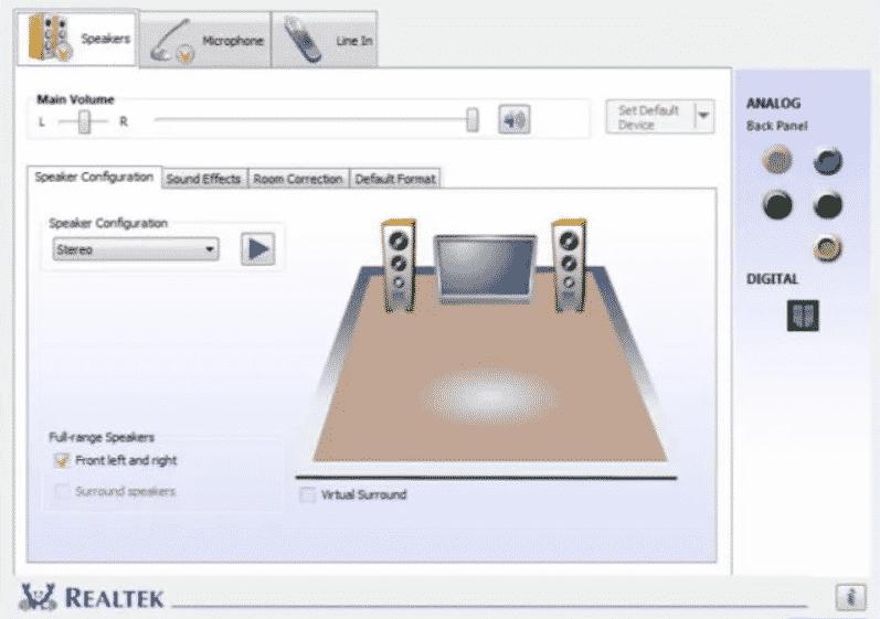 Administrador de audio Realtek HD