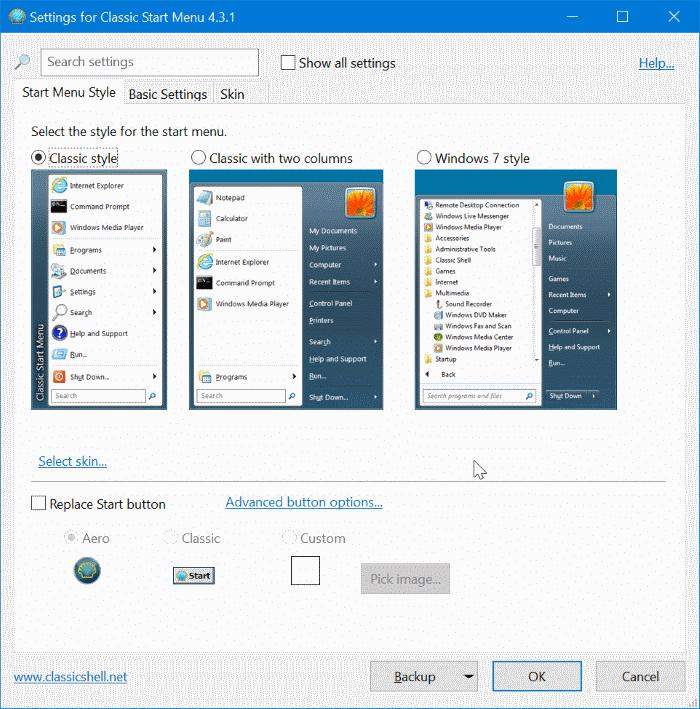 obtener el menú de inicio clásico en Windows 10 pic4