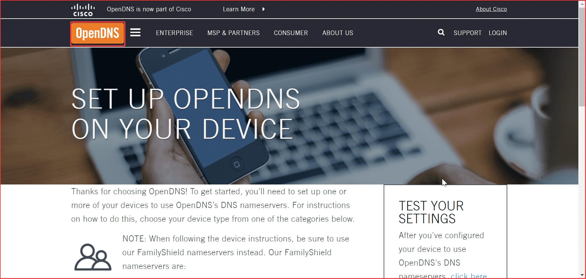 Abra el escudo familiar de DNS