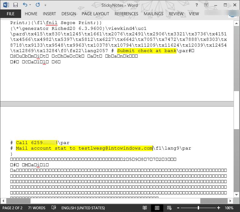 Recuperar notas adhesivas eliminadas en Windows step3