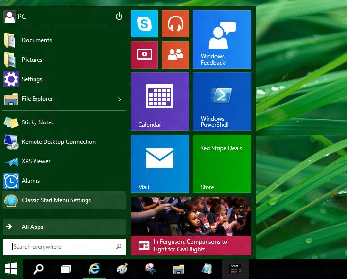 Use el menú Inicio antiguo y el nuevo juntos en el sistema operativo Windows 10