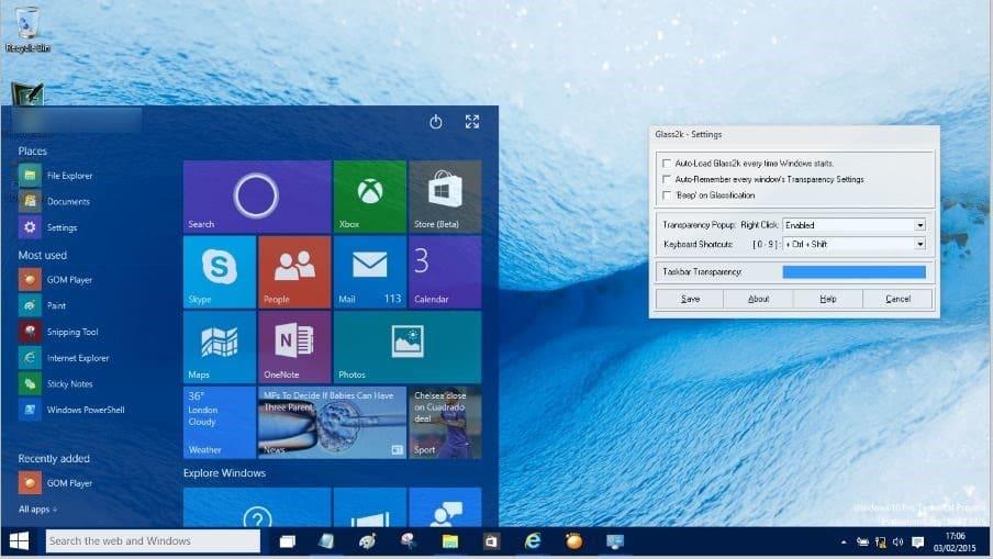 Hacer que el menú de inicio sea transparente en Windows 10