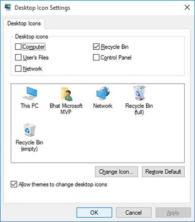 Cambiar el icono de la papelera de reciclaje en Windows 10 step3