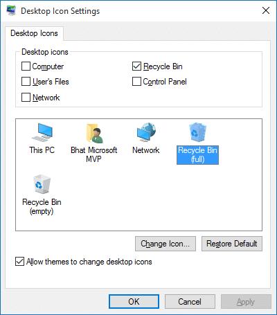 Cambiar el icono de la papelera de reciclaje en Windows 10 paso 2