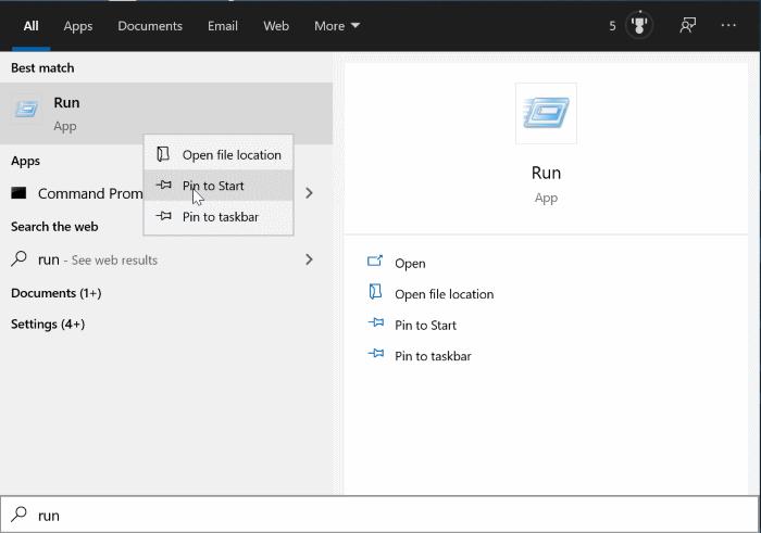 comando pin run al menú Inicio en Windows 10 pic1