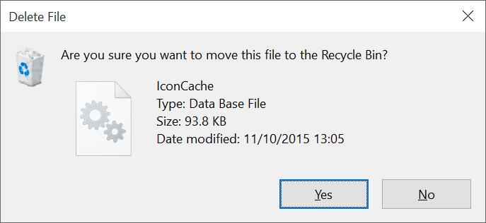 Reconstruir el caché de iconos de Windows 10 paso 5