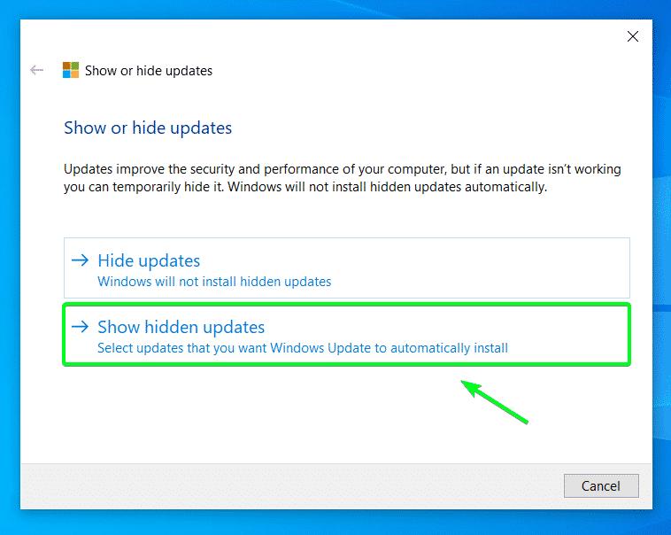 Mostrar actualizaciones ocultas
