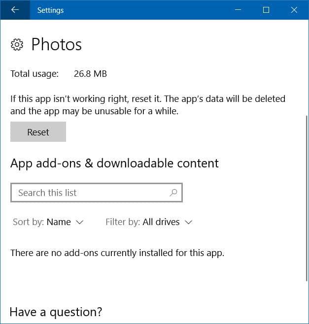 la aplicación de fotos no se abre en Windows 10
