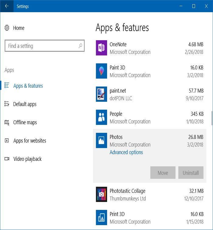 la aplicación de fotos no funciona en Windows 10