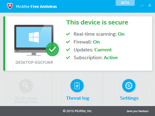 Antivirus gratuito McAfee para Windows 10