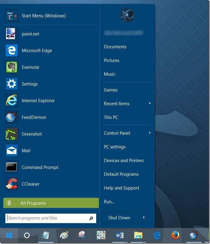 Agregar cuadro de búsqueda al menú Inicio en Windows 10 pic1
