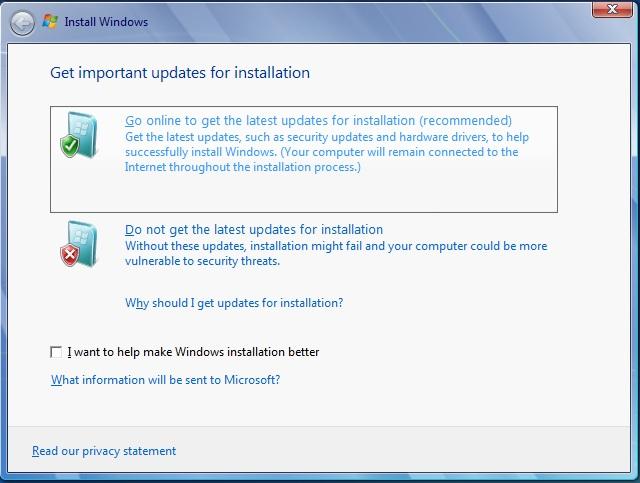 instalar windows 7 ir a la opción en línea