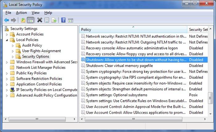 Corregir el botón de apagado que falta en la pantalla de inicio de sesión de Windows 7 paso 2
