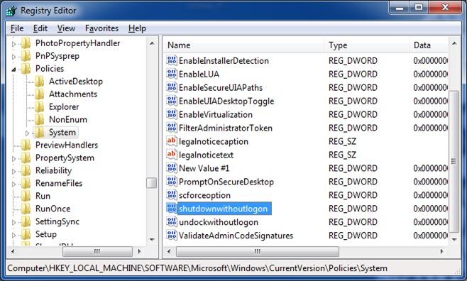 Corregir el botón de apagado que falta en la pantalla de inicio de sesión de Windows 7 paso 6