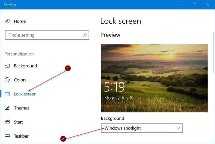 cambia automáticamente la imagen de fondo de la pantalla de bloqueo en Windows 10 pic1