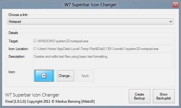 Cambiador de iconos W7 Superbar