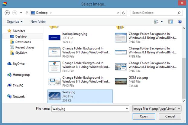 Cambiar el fondo de la carpeta en Windows 8.1 usando WindowBlinds Step7