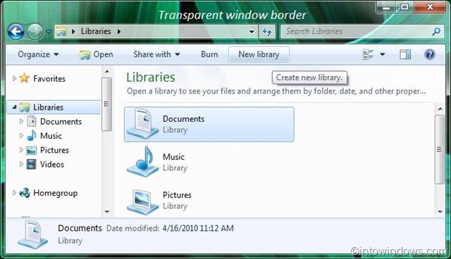 Cómo hacer transparente el borde de la ventana en Windows 7 pic3