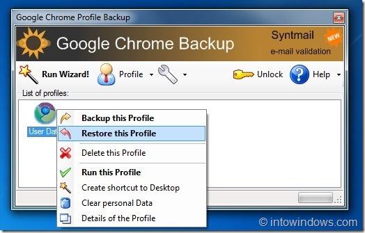 Copia de seguridad de Google Chrome