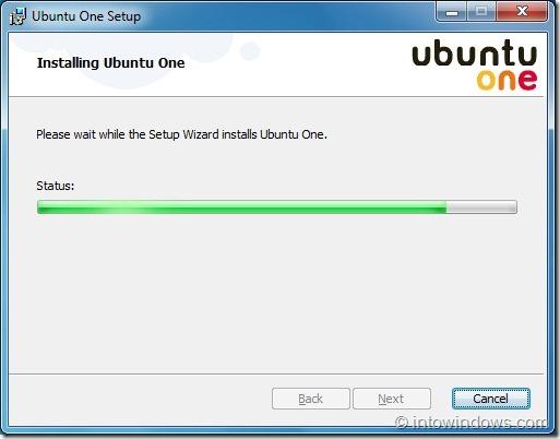 Configuración de Ubuntu One en Windows 7 paso 2