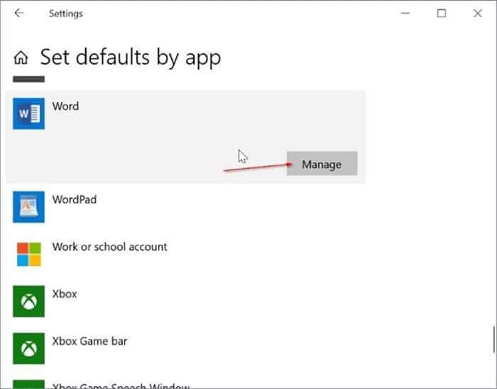 establecer Microsoft Office Word como predeterminado en Windows 10 pic2