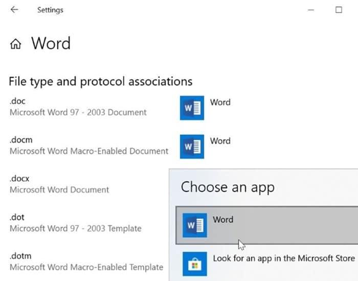 establecer Microsoft Office Word como predeterminado en Windows 10 pic3