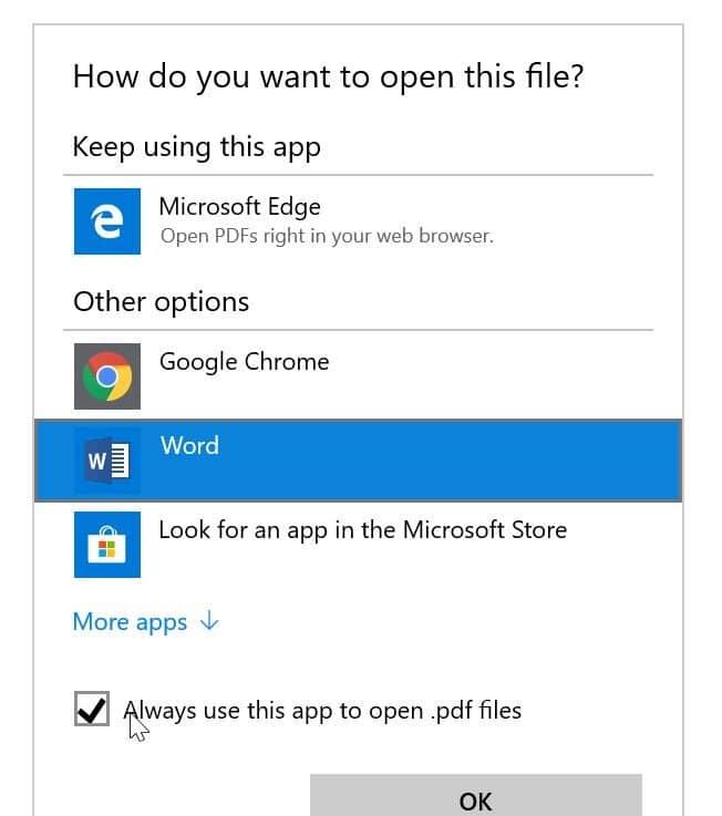 establecer Microsoft Office Word como predeterminado en Windows 10 pic5.1