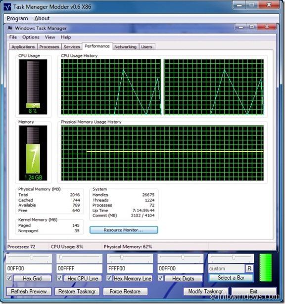 TaskManger Modder para Windows7
