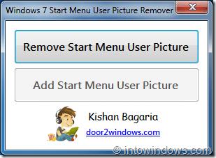 Eliminar la imagen de usuario del menú Inicio en Windows7