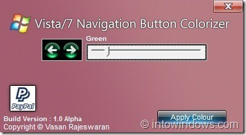 Cambiar el color del botón de navegación en Windows 7