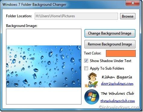 Cambiador de fondo de carpetas de Windows 7