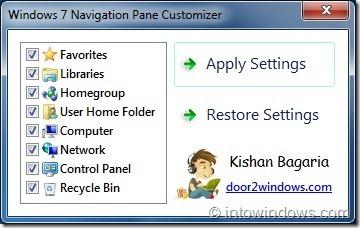 Personalizador del panel de navegación de Windows 7