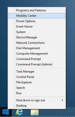Centro de movilidad abierto en Windows 8.1