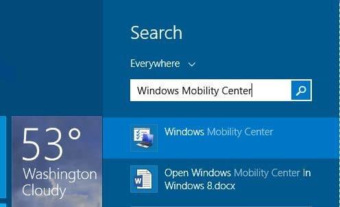 Abra el Centro de movilidad de Windows en Windows 8.1