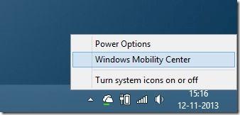 Abra el Centro de movilidad de Windows en Windows 8.1 Método 1 Paso 1