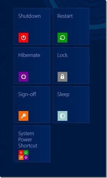 Agregue Apagar, Reiniciar, Hibernar a la pantalla de inicio de Windows 8