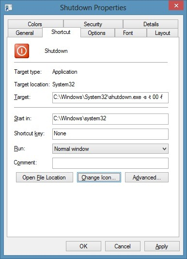 Mosaico de apagado de Windows 8 en la imagen de la pantalla de inicio