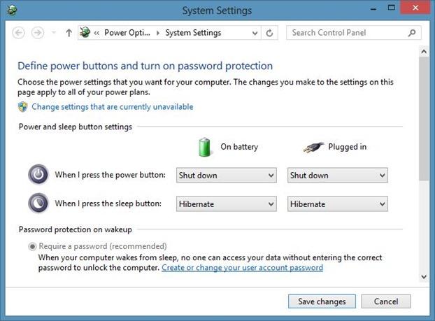 Cambiar la acción del botón de encendido en Windows 8
