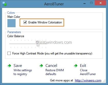 Establecer diferentes colores para la barra de tareas y el borde de la ventana en Windows 8 Paso 6