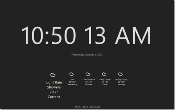 Reloj y fecha para la pantalla de inicio en Windows 8