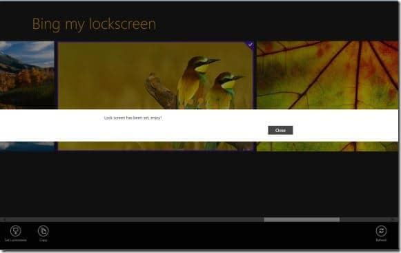 Establecer imagen de Bing como imagen de fondo de la pantalla de bloqueo