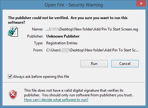 Agregar Pin para iniciar a todos los tipos de archivo en Windows 8.1 Paso 3