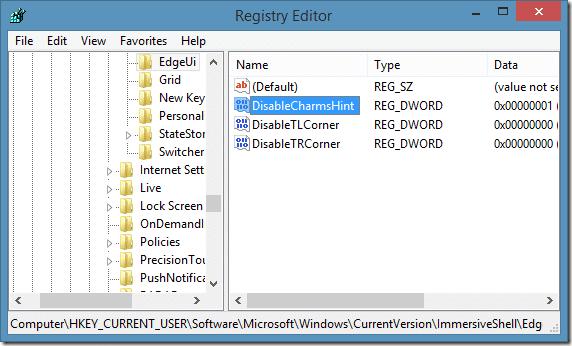 Deshabilitar la barra lateral en Windows 8.1 Step6