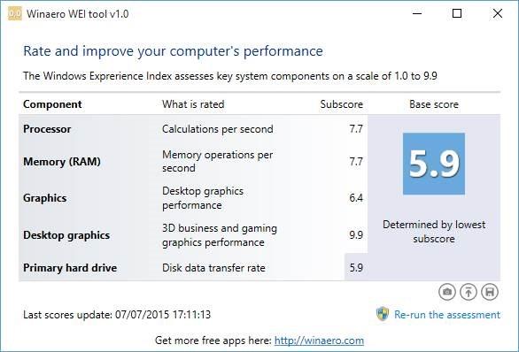 Índice de experiencia de Windows en la imagen de Windows 101